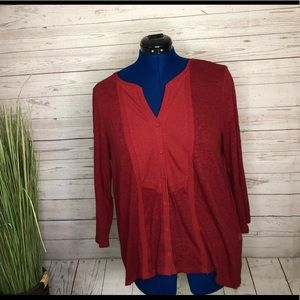 Lucky Brand red 3/4 sleeve blouse w buttons L